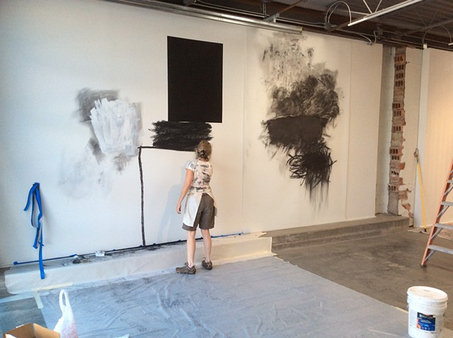 On site wall drawing in progress at Marfa Contemporary