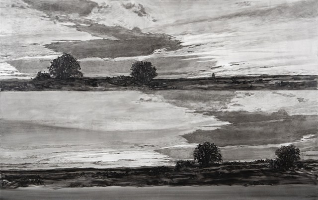 landscapes, skyscapes, contemporary painting, black and white paintings