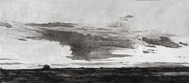 contemporary art, landscapes, skyscapes, contemporary painting, black and white paintings, clouds