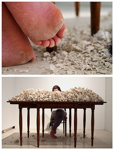 ceramics, letter, crushed, crumbled, performance, photographic