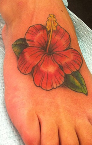 Hibiscus Flower Foot Tattoo