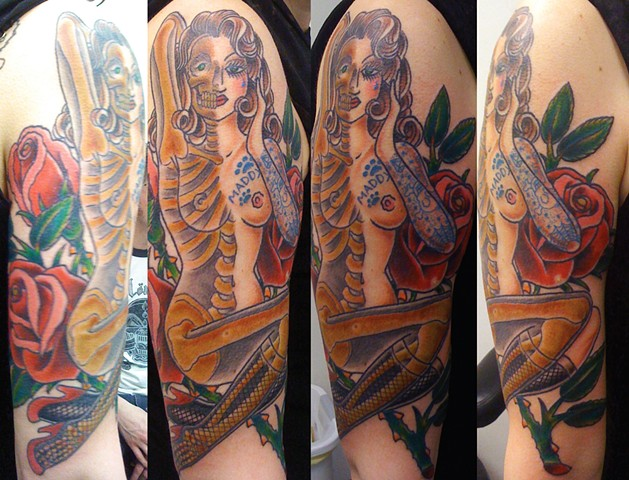 Skeleton Pin Up Tattoo