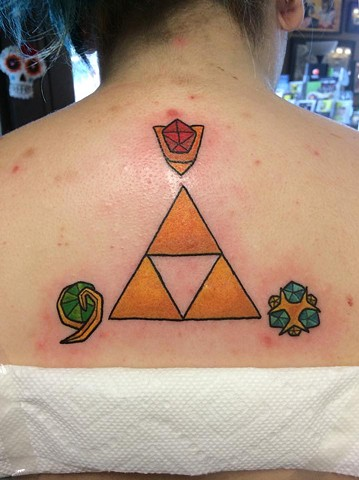 Zelda Triforce and Spirit Gems Tattoo