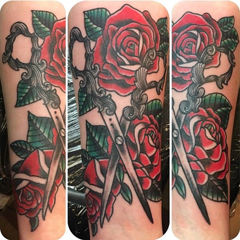 Roses and Scissors Tattoo