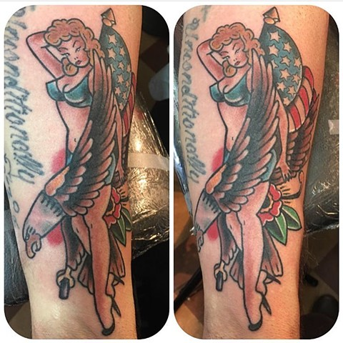 Traditional Patriotic Pinup Eagle Tattoo