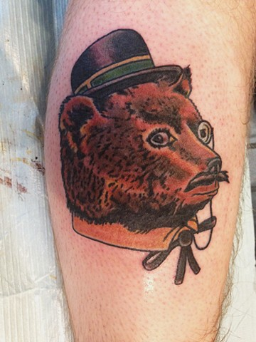Dapper Bear Tattoo on Leg