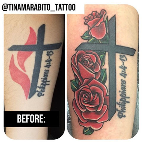 Traditional Rose Coverup Tattoo