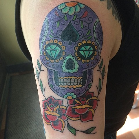 Purple Sugar Skull Arm Tattoo