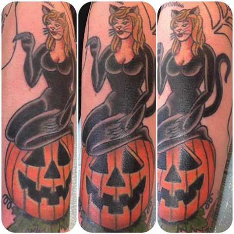 Traditional Halloween Cat Pinup Tattoo