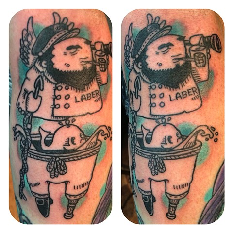 Sailor Woodcut Tattoo