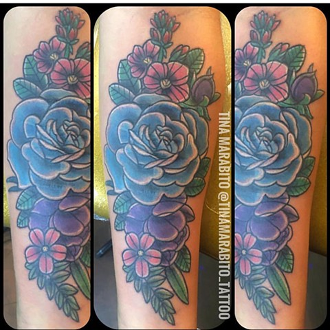 Traditional Rose and Flowers Tattoo
