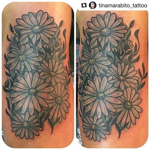 Back and Grey Daisy Tattoo