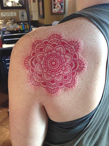 Red Mandala Shoulder Tattoo