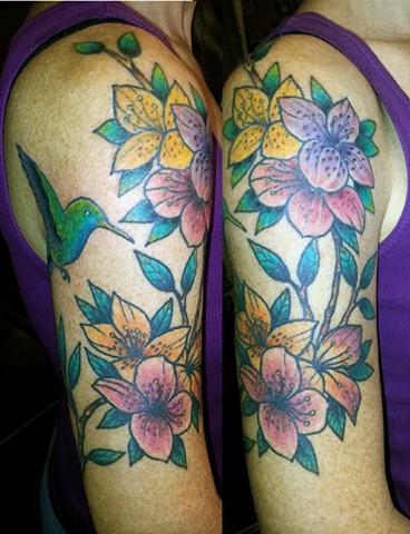 Hummingbird and Flowers Half Sleeve Tattoo
