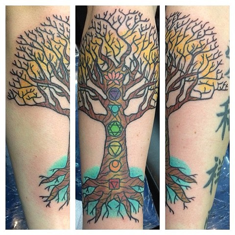 Tree of Life with Chakras Tattoo