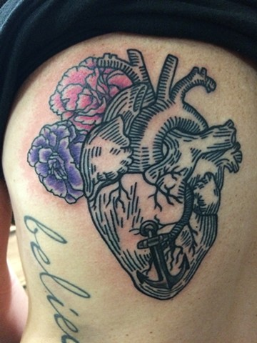 Anatomical Woodcut Heart, Carnations and Anchor Tattoo