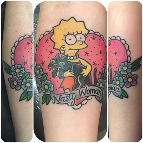 Lisa Simpson Nasty Woman Tattoo -Tina Marabito