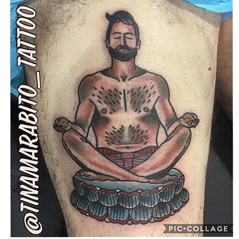 Neotraditional Yoga Male Pinup Tattoo