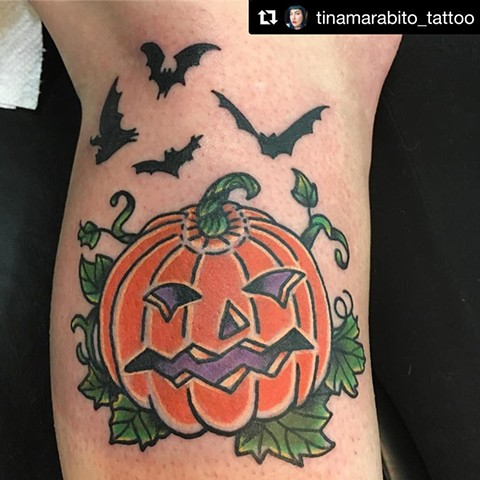 Pumpkin and Bats Halloween Tattoo