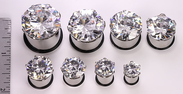 Clear Diamond Steel Plugs