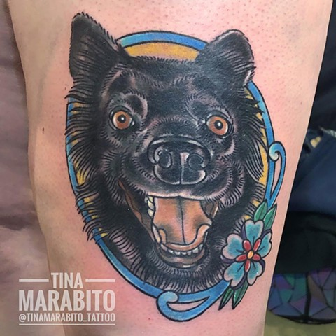 Neotraditional Dog Pet Portrait Tattoo