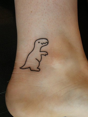 T-Rex Dinosaur Outline Tattoo on Ankle
