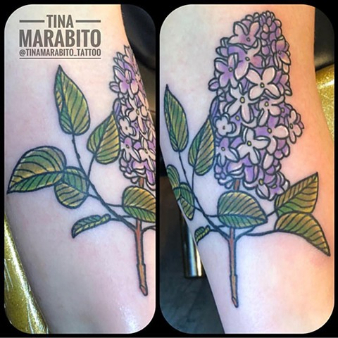 Neotraditional Lilac Tattoo