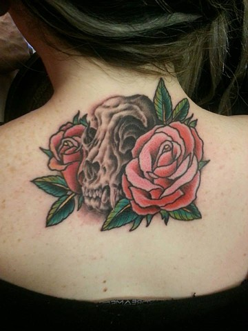 Cat Skull with Roses