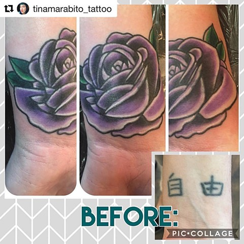 Traditional Purple Rose Coverup Tattoo