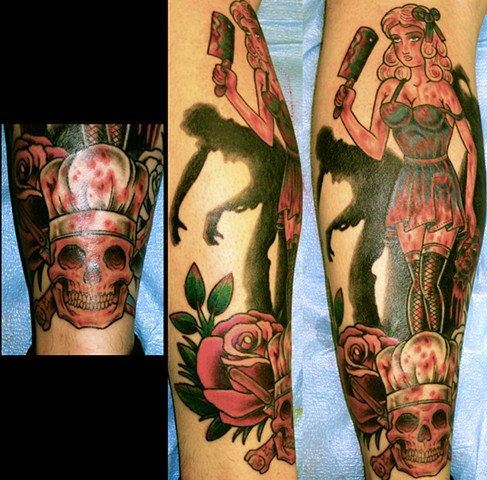 Zombie Pin Up Murder Tattoo