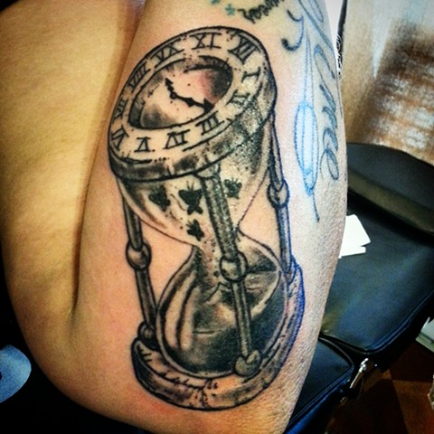 Hourglass with Butterflies Tattoo