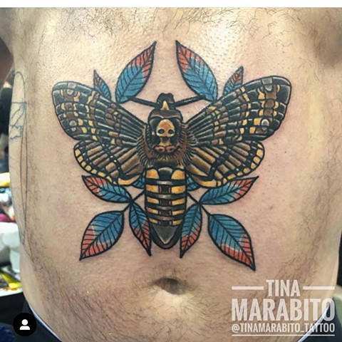 Traditional Death's-Head Moth Stomach Tattoo