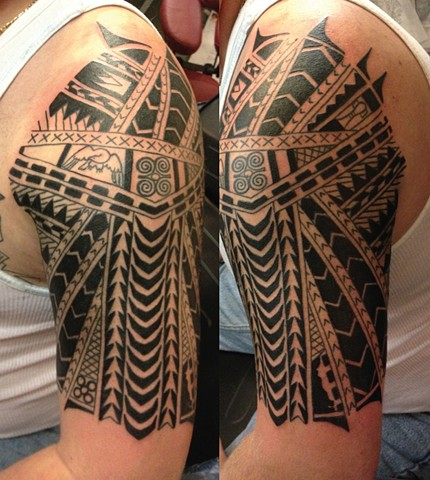 Samoan Tribal Half Sleeve Tattoo