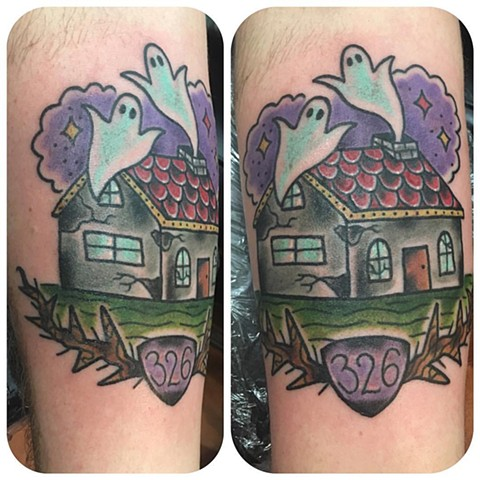 Traditional Haunted House Tattoo