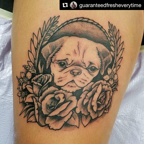 Pug and Roses Tattoo