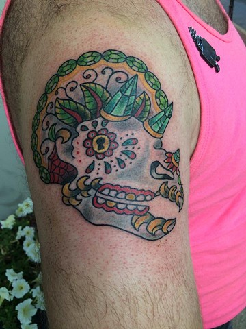 Triceratops Sugar Skull Tattoo