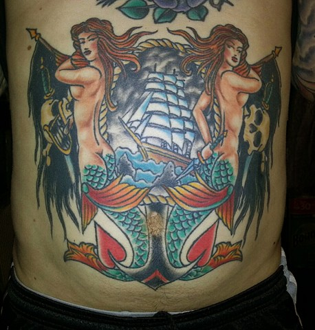 Mermaid and Ship Stomach Tattoo