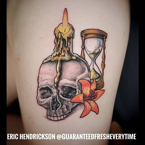 Skull Lily Candle and Hourglass Tattoo