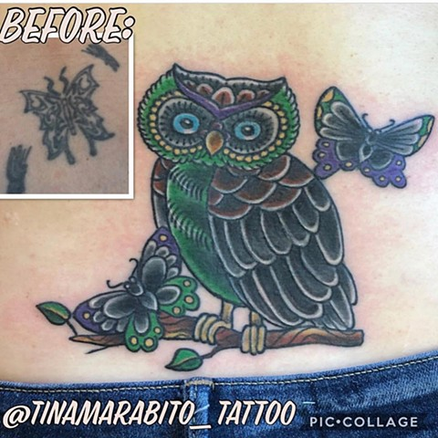 Traditional Owl and Butterfly Coverup Tattoo