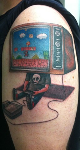 Nintendo, Mario Brothers, TV Head Tattoo