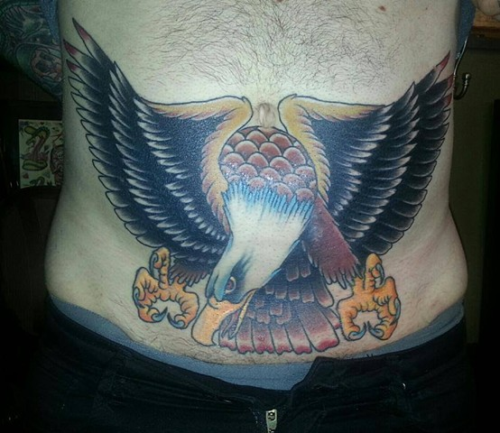 Eagle Stomach Tattoo