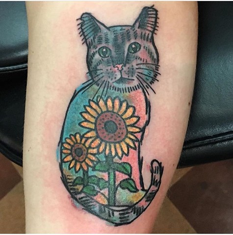 Watercolor Cat and Sunflower Tattoo - Tina Marabito