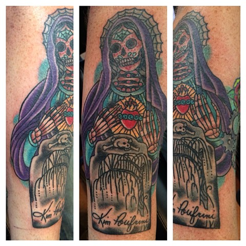 Day of the Dead Sugar Skull Virgin Mary Memorial Tattoo