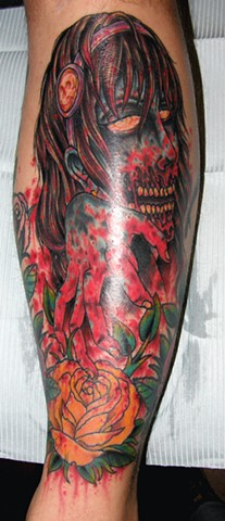 Bloody Zombie Girl Tattoo