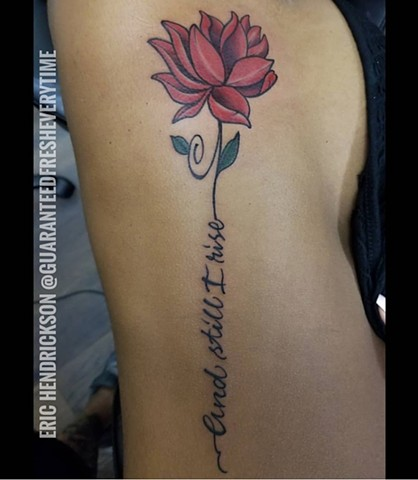 Lotus Flower and Lettering Tattoo