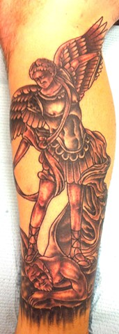 Saint Michael Black and Gray Tattoo