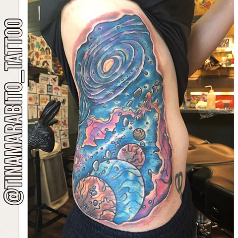 Nebula Galaxy Space Rip Out Rib Tattoo