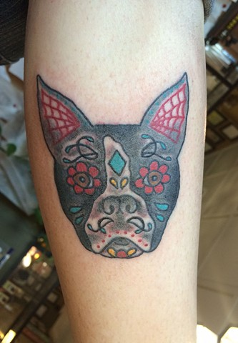 Day of the Dead Boston Dog Tattoo