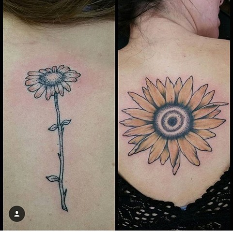 Daisy and Sunflower Stippling Tattoo - Eric Hendrickson