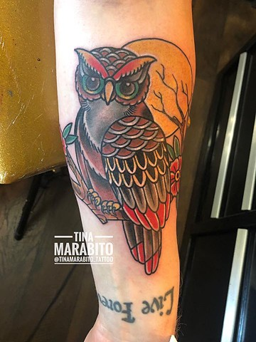 Traditional Owl Tattoo